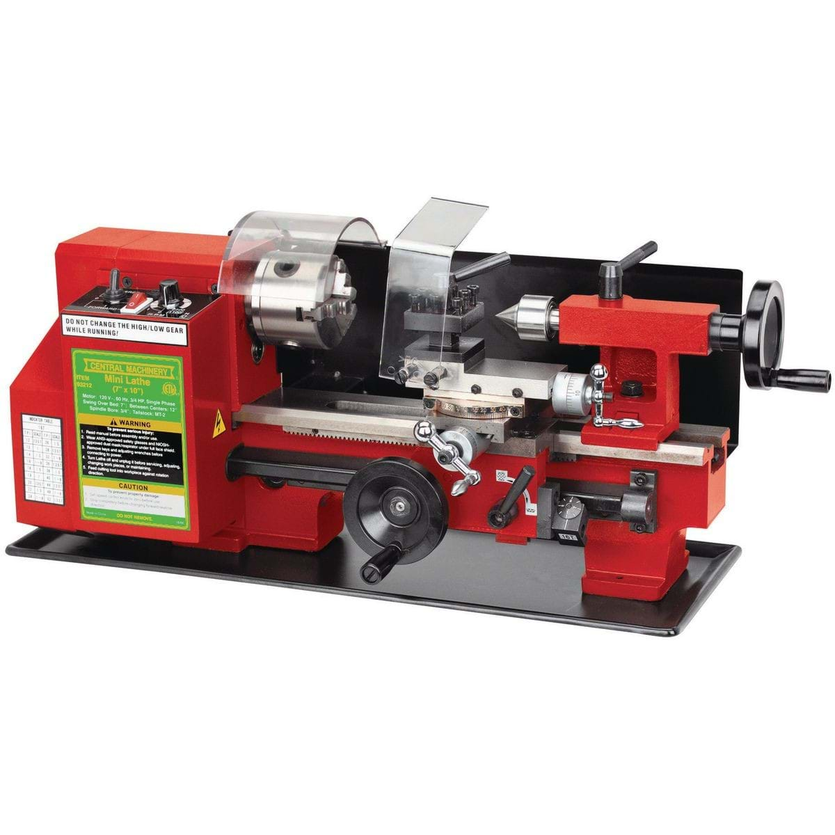 A red lathe machine