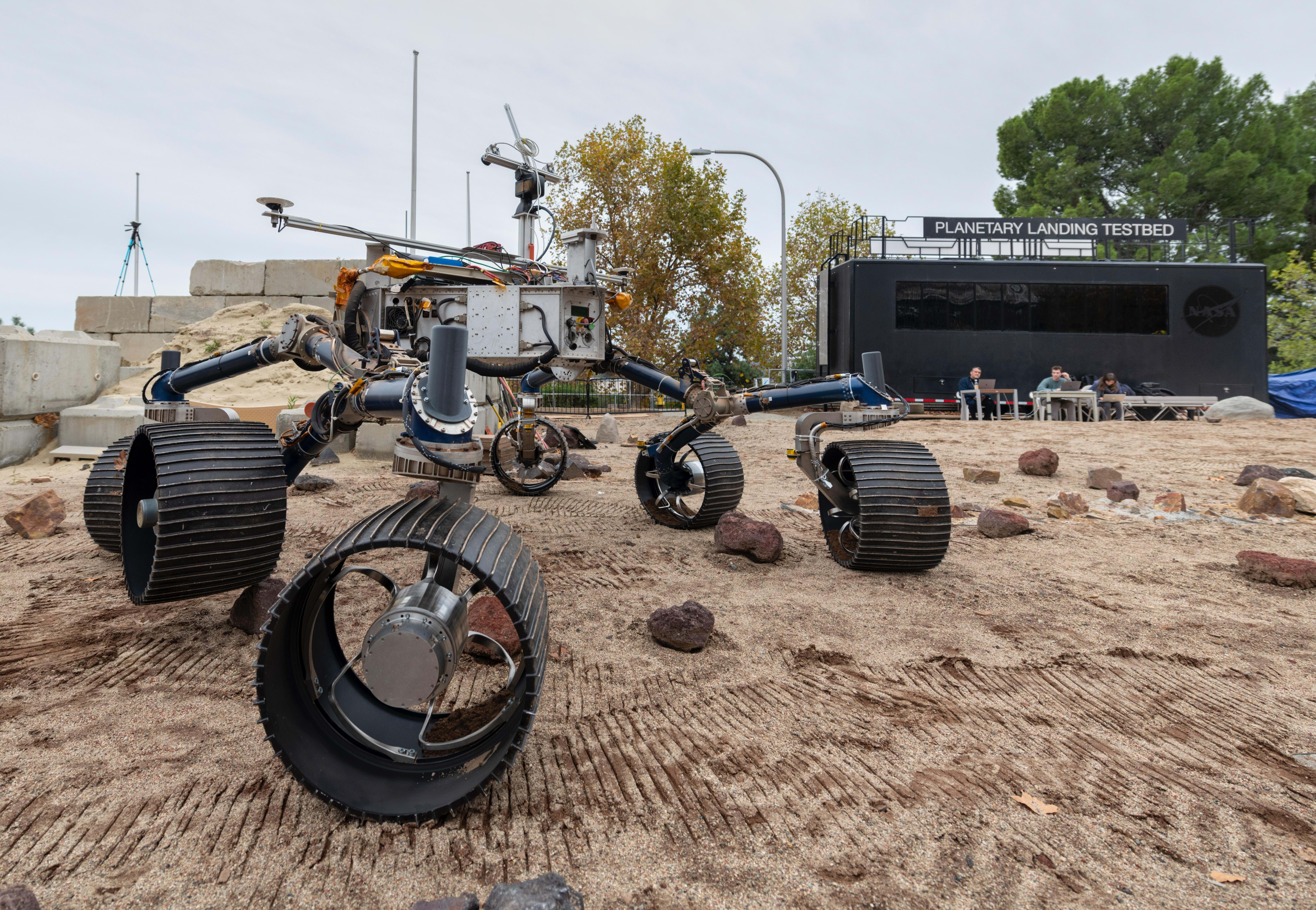 NASA's Mars 2020 rover on the Mars Yard at NASA's Jet Propulsion Laboratory
