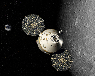 The Orion spacecraft in lunar orbit, as illustrated by an artist's conception.