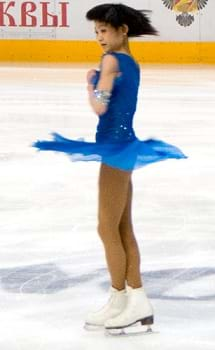 Yuko Kawaguti free skating and spinning in the 2010 Cup of Russia.