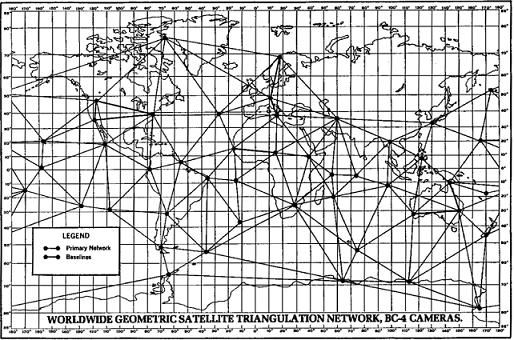 A map showing the wordwide geometric satellite triangulation network.