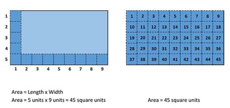 A drawing shows two blue rectangles of the same size. One (on the left) has its length marked off as 5 units and its width marked off as 9 units. The other rectangle (on the right) is marked off in the same units with those marks extending across the interior area of the rectangle, resulting in a grid of square units, each numbered, from 1 to 45. Area = length x width; 5 units x 9 units = 45 square units.