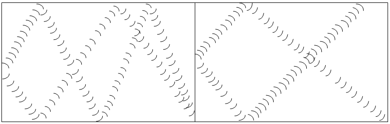 Two diagrams: (left) Blue and black arcs bounce off walls in many directions. (right) Most of the blue and black arcs stop when they hit walls.