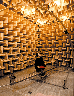 An anechoic chamber (room designed to completely absorb reflection from sounds and electromagnetic waves) at the University of Salford.