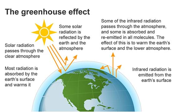 A diagram shows energy from the Sun hitting the Earth. Some solar radiation is absorbed, some is reflected, and some is re-emitted back to the Earth by greenhouse gas molecules.