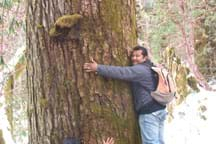 Photo shows a man hugging a big tree trunk.