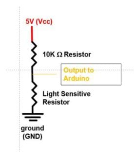 A circuit diagram shows the location of voltage, resistors, output to Arduino, and ground.