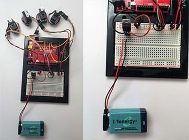 Two photographs show more detail of the setup partially shown in Figures 3 and 4. At left, the Arduino and breadboard hooked up to five servo motors, a 9V battery, and voltage regulator. At right, a closer photograph pf the Arduino breadboard shows its wire hook-ups to the battery and voltage regulator.