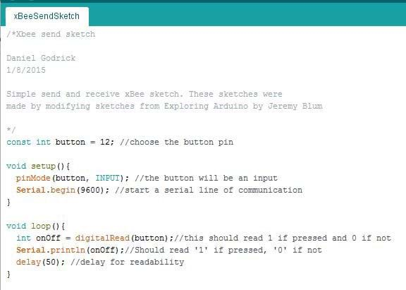A screen capture shows a simple XBee sketch code to send button data.
