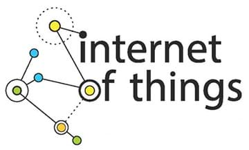 "A graphic shows a scattering of concentric dots and circles connected by solid and dashed lines around the words ""Internet of things."""