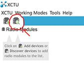 A screenshot of the XCTU home page shows the top left corner with a red circle and red arrow identifying the discover button.