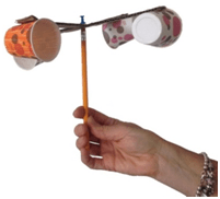 A photograph shows a hand holding an anemometer made from a pencil and four cups.