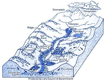 A landform diagram identifies precipitation, snowpack, ridge, tributaries, sub-basin, lake, forestry, riparian zone, agriculture, town, watershed divide, wetlands, percolation, groundwater (aquifer).