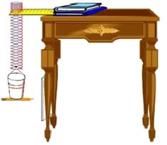 A table with books holds a slinky with a cup suspended below it.