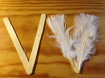 "A close up photograph shows two craft sticks glued together at a 40° angle, which looks like a ""V"" (left) and another two craft sticks prepared in the same way but covered with white feathers (right)."
