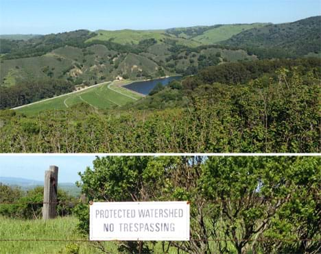 Two photos: A landscape view looks down into a wide green canyon at a dam, reservoir and creek. A sign posted on a barbed wire fence above the landscape scene: Protected watershed -  no trespassing.