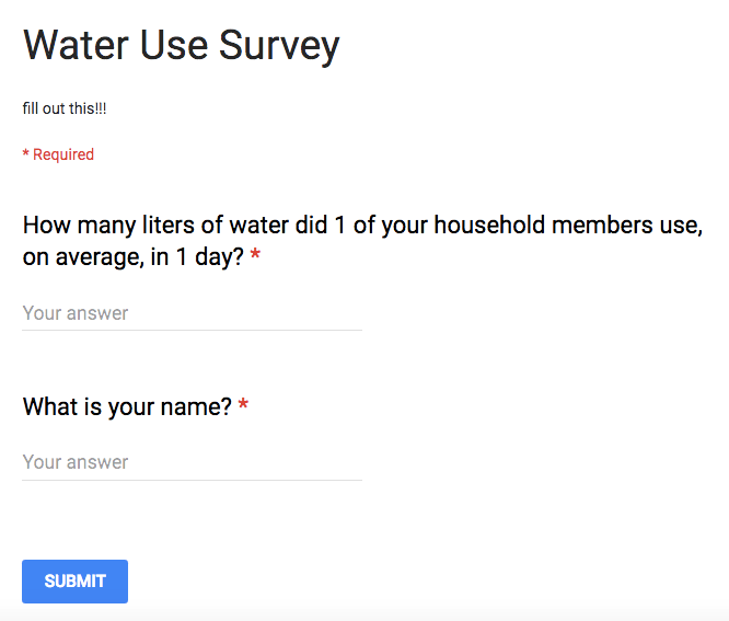 Image shows the questions in the Google Forms water use survey.