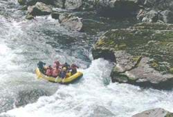 A photo of whitewater rafting on a river in Oregon.