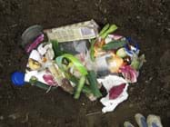 Photo shows view from above of a hole in the ground filled with assorted trash (vegetable peelings, packaging wrappers, tissue, egg shells, tea bag, can lid, plastic lid).