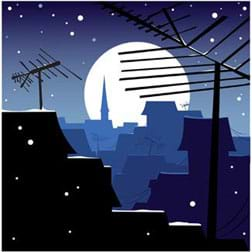 A drawing shows a view of a full moon from a rooftop, with antennas and angled roofs in the foreground.