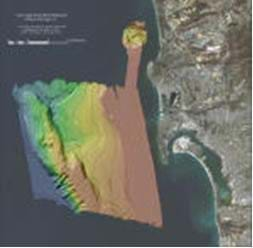A satellite image of the San Diego coastline reveals a section of offshore underwater terrain with rainbow color-shading and contour lines indicating the sea floor topography.