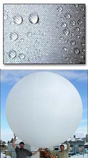 Two photos: (top) close-up of woven fabric with beads of water on it. (bottom) Two men hold over their heads a 10-foot diameter inflated round balloon.