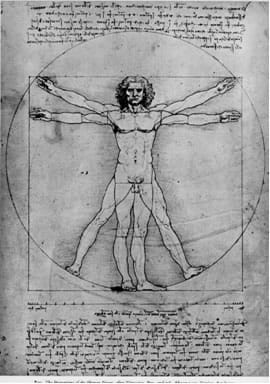 A line drawing shows a human man with arms and legs outstretched at two overlapping positions within a circle. Below the drawing are handwritten notes.