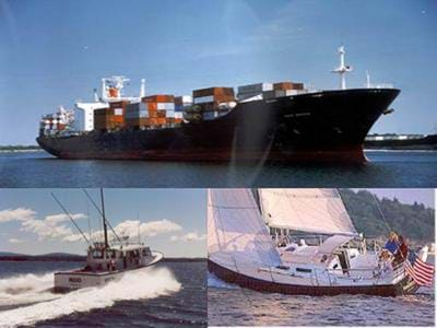 Three photos of different types of boats: ocean-going container ship, motorized fishing boat and sailboat.