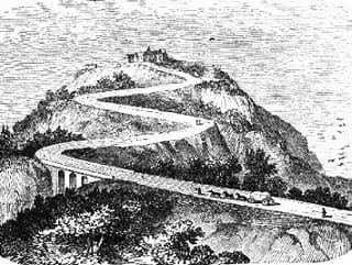 Pencil drawing of large mountain with winding road leading to summit.