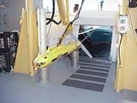 Photo shows what looks like a four-foot long missle painted to look like a yellow shark.