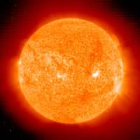 An image of the fiery hot sun. Specifically, a SOHO extreme ultraviolet imaging telescope (EIT) full-field He II 304 Å.