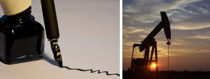 Two photos: (left) An ink bottle and pen. (right) A pumpjack, a machine that pumps oil from underground reservoirs, in a West Texas field.