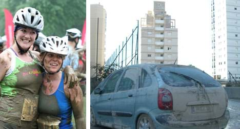 Two photos: (left) Two hugging Muddy Buddy racers — women covered in mud with bike helmets and pinned-on race numbers. (right) A muddy car.