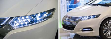 Two photographs. The front end of a white sedan—a Honda Insight concept car. A close-up of that car's elongated headlight; beneath a clear cover many very bright LED lights can be seen.