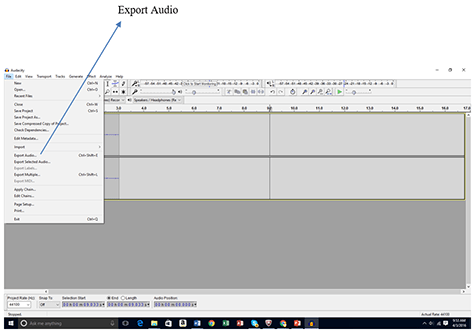 "A screenshot shows a gray window with a band of icons and buttons across the top. An arrow points to ""Export Audio"" in the File drop-down menu from the Audacity software menu bar."