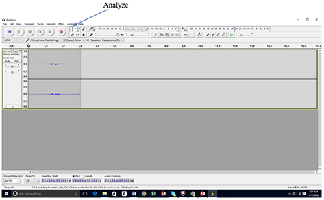 "A screenshot shows a gray window with a band of icons and buttons across the top. An arrow points to the ""Analyze"" option on the Audacity software menu bar."