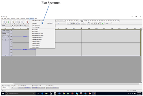 "A screenshot shows a gray window with a band of icons and buttons across the top. An arrow points to ""Plot Spectrum"" on the Audacity software ""Analyze"" menu bar."