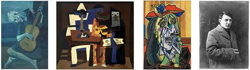 Four photographs: The first three are oil paintings: An old man seated on the floor playing a guitar. Abstract images of three people playing instruments. An distorted color portrait of a woman's face. A black and white photograph of a man in an overcoat.