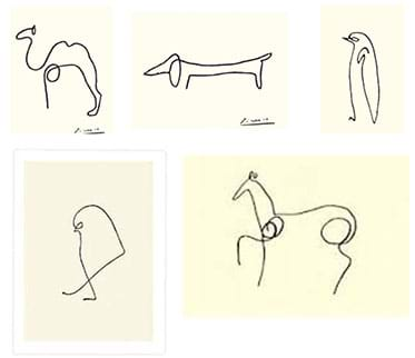 Five black continuous line drawings of animals: camel, dog, penguin, bird, horse.