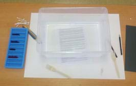 A photograph shows a tabletop with an ice cube tray containing 4 colors of ink, a 9 x 12-inch plastic frosted container, a few paintbrushes, Q-Tips, plastic forks, paperclips, pencil and paper.