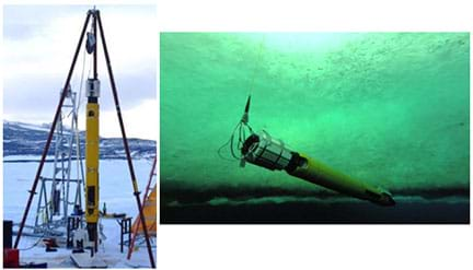 Two photographs: In a snowy landscape, a long, cylindrical yellow device (the Icefin robot) hangs from a triangular metal frame above a hole in the ice. An underwater photo shows the long yellow device (the robot) moving horizontally under the ice above it.