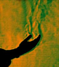 An image shows the silhouette of an open-palmed human hand with waves of green and orange above it, showing a flow of heat into the air from the hand.
