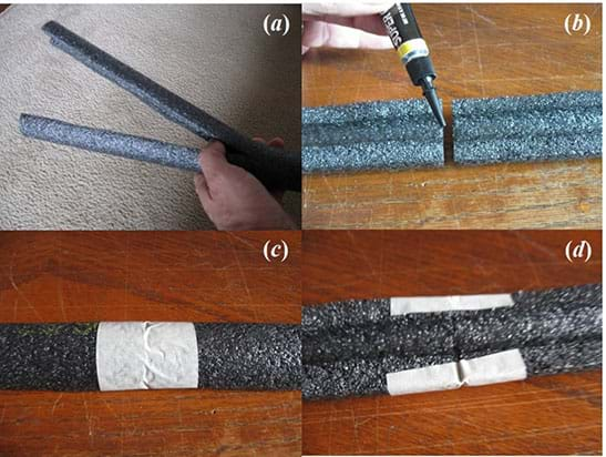 A sequence of four photographs shows the steps to cut and join together lengthwise the pipe insulation to create long coaster rails.
