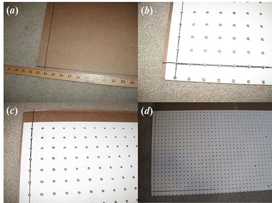 A sequence of four photographs shows the steps to use a piece of pegboard (a grid of points) to aid in easily plotting points on the cardboard coaster backing sheet.