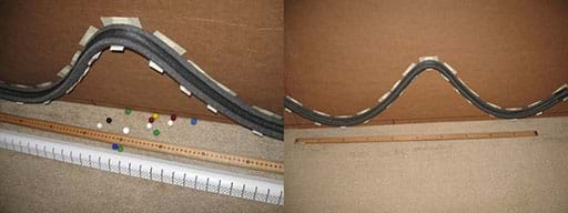 A wide composite photograph shows a horizontal cardboard backing (just like Figure 16) with the curved pipe insulation channel mounted on the L-brackets (vinyl corner bead pieces) to form the roller coaster path.