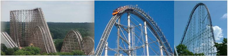 Three photographs show the rolling tracks and truss support structures of three huge roller coasters: (left to right) El Toro in NJ, Thunder Dolphin in Tokyo, Japan, and Millennium Force in OH.