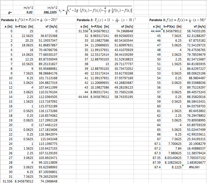 A screen capture of an Excel spreadsheet shows velocity calculations.