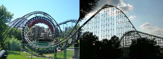 Two photographs of looping (left) and very tall (right) roller coasters. Left is the Daemon Roller Coaster in Chicago, IL, one of the first multi-looping roller coasters (May 1976). Right is the Thunderhawk roller coaster in Allentown, PA, one of the tallest roller coasters in the 1970s.