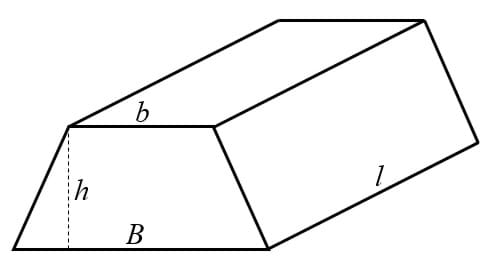 To obtain the volume of a trapezoidal prism, multiply the value of the area of its base times the prism's length.