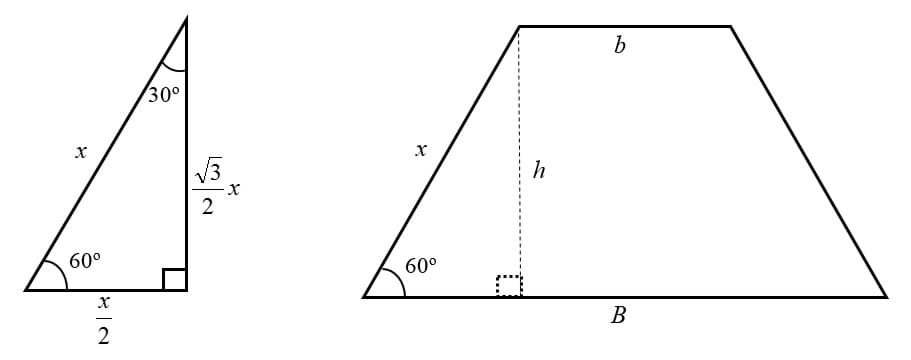 A diagram of the standard relationships between the sides of a 30-60-90 right triangle used to link the leg and the height of the trapezoidal prism's base.